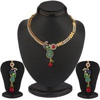 Sukkhi Meenakari Ruby Studded Peacock Necklace Set