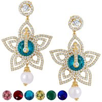 Sukkhi Stylish Gold plated AD Earring With 6 Pairs of Changeable Stone