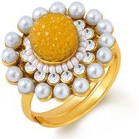 Sukkhi Gold Plated Austrian Diamond Gold,White Rings For-Women