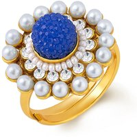 Sukkhi Exotic Gold Plated Ring With AD and White Pearls
