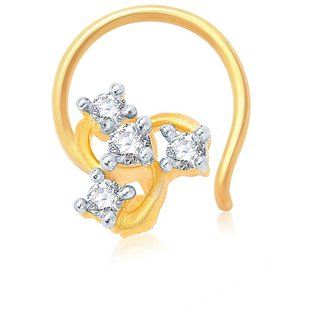 Sukkhi Glimmery Gold and Rhodium Plated CZ Nose Pin