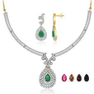 Sukkhi Gold  Rhodium Plated Faux Emerald Teardrop CZ Necklace Set with 4 Changeable
