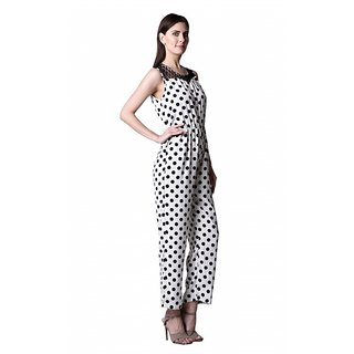 Westrobe Black White Crepe Jumpsuits For Women