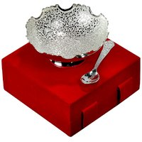Elegant Silver Plated Brass Dry Fruit Bowl With Spoon For Gift