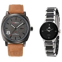 Curren Brown and  IIK Collection Black-silver Women Couple Watches  for Men and Women