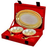 Festival Gift Silver And Gold Plated Brass Bowl And Tray Set Of 5 Pcs