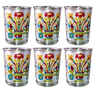 Decorative Meenakari art Metal Glass - set of 6