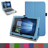 """Acer One 10 S1002 Case,Mama Mouth PU Leather Folio Stand Cover for 10.1"""" Acer One 10 S1002 Detachable 2-in-1 Laptop/Tablet,Light Blue"""