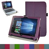 """Acer One 10 S1002 Case,Mama Mouth PU Leather Folio Stand Cover for 10.1"""" Acer One 10 S1002 Detachable 2-in-1 Laptop/Tablet,Purple"""
