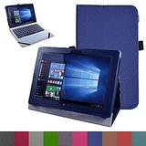 """Acer One 10 S1002 Case,Mama Mouth PU Leather Folio Stand Cover for 10.1"""" Acer One 10 S1002 Detachable 2-in-1 Laptop/Tablet,Dark Blue"""
