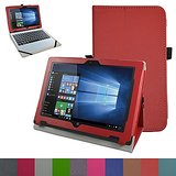"""Acer One 10 S1002 Case,Mama Mouth PU Leather Folio Stand Cover for 10.1"""" Acer One 10 S1002 Detachable 2-in-1 Laptop/Tablet,Red"""