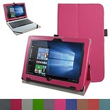 """Acer One 10 S1002 Case,Mama Mouth PU Leather Folio Stand Cover for 10.1"""" Acer One 10 S1002 Detachable 2-in-1 Laptop/Tablet,Rose Red"""