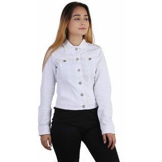 Kotty crop denim jacket in white