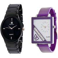 IIK Collction Black and Golry Square in Diamond Blue Analog purple Watches for Women