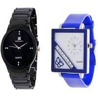 IIK Collction Black and Golry Square in Diamond Blue Analog couple Watches for Women