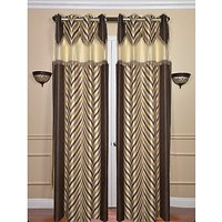 Beautiful Coffee And Cream Combination Design Curtain With Double Laces- Set Of