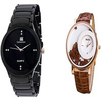 IIK Collction Black and  Mxre Brown Men Watches Couple for Men and Women
