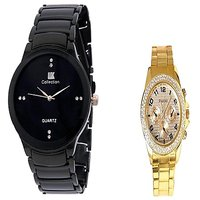 IIK Collction Black and  Paidu Gold Men Watches Couple for Men and Women