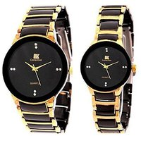 IIK Collction Black and Golden Couple Watches for Men and Women