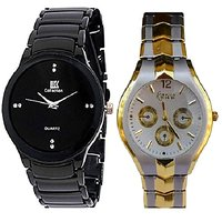 IIK Collction Black Men and  Rorsa Gold-Silver Women Watches Couple For Men and Women