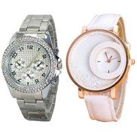 Paidu Silver Stone Studded Paidu  White FreeMoving Diamond Analog Wrist Watch for Women Pack Of 2
