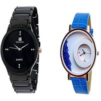 IIK  Collection Black and Mxre Blue analog Couple Watches For Men and Women