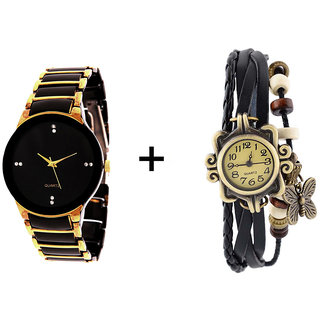 Iik Collection GoldenBlack And Vinteg Black Quartz Analog Couple Watches