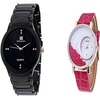 IIK Collction Black and  Mxre Red Men Watches Couple for Men and Women
