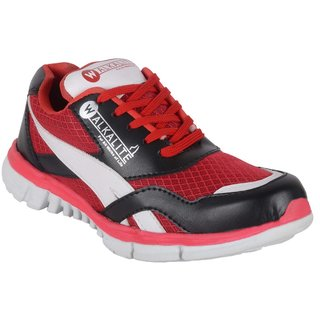 Walkalite Mens Red color running Shoes