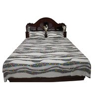 Bombay Dyeing Cotton Double Bed Sheet Print Ebony, Ivory Black, Cream(229X254Cms)