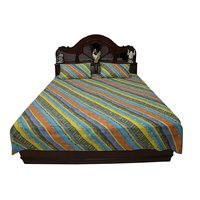 Kakori Cotton Double Bed Sheet Printed Yuri Blue, Yellow, Multi 229X274 Cms