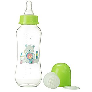 Abstract 9 Oz. Baby Feeding Bottle with Cover and Strainer (Green)