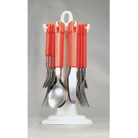 Elegante Tablecraft Red Look Cutlery Set - 24 Pcs With Stand