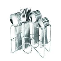Elegante Zenith Spoon Steel Look Cutlery Set - 24 Pcs With Stand