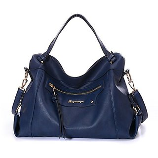 DDDH Messenger Bag Leather Purses Women Handbags Tote Bag Crossbody Handbag(Blue)