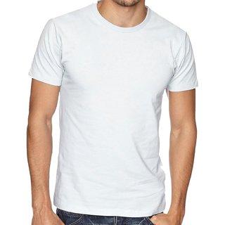 Mens Round Neck Half Sleeve Solid T-Shirt (White)