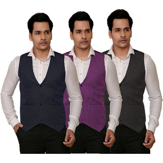 Trustedsnap Solid Party Wear Mens waist Coat Set Of 3