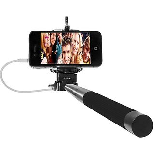 selfie stick with aux cable for all android phones pocket monopod for all smart phones buy. Black Bedroom Furniture Sets. Home Design Ideas