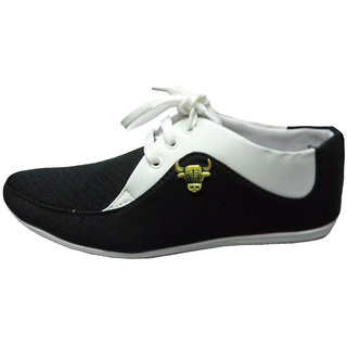 Casual Shoes in Black and White finish