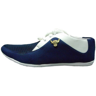 Casual Shoes in Deep Blue and White finish