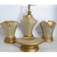 ROYAL LOOK Beautiful  Bath Set With Dazzling Crystals (Set Of 4)