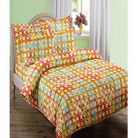 Swaas Chex Yellow - Single Bed Sheet Set With One Pillow Cover