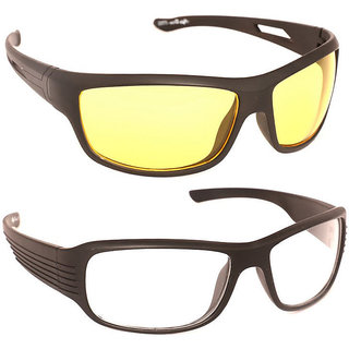Pack of 2 Day Night Vision Riding glasses (White+Yellow)
