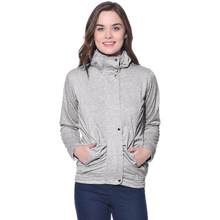 Purys Light Grey Fleece Buttoned Sweatshirts