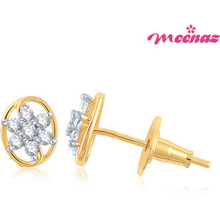 Meenaz floral hooped  Gold & Rhodium Plated CZ Earings T112