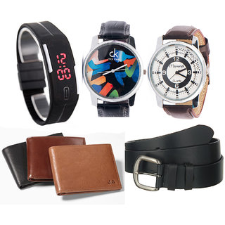 Jack Klein Combo of Black Digital Led Band, 2 Analog Watches And 1 Black Wallet And Black Belt