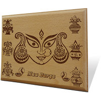 Jai Maa Durga Ki Wooden Engraved Plaque