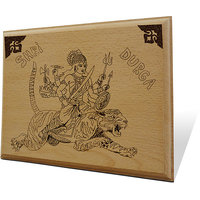 Shri Durga Wooden Engraved Plaque