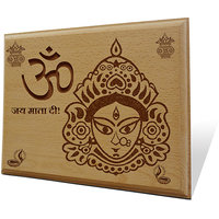 Om Jai Mata Di Wooden Engraved Plaque