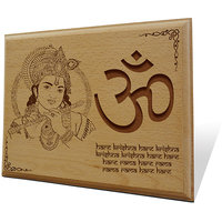 Om Krishna Wooden Engraved Plaque